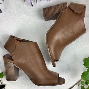 Breckelles Brown Peep Toe Chunky Heal Sandal